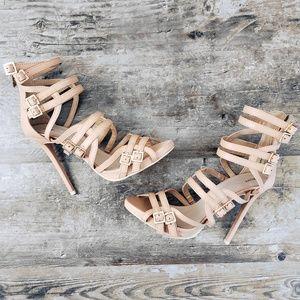 JustFab Beige Strappy Cynthe Platform Heel Sandals